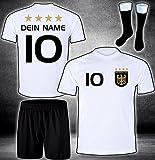 DE-Fanshop Deutschland Trikot Hose Stutzen mit GRATIS Wunschname Nummer Wappen Typ #D 2020 im EM/WM Weiss - Geschenke für Kinder,Jungen,Baby. Fußball T-Shirt personalisiert