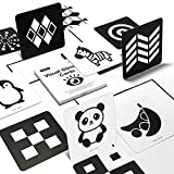 beiens High Contrast Baby Flashcards, Black and White Newborn Brain Development Toys, Visual Stimulation Learning Activity Cards for 0-3 Months, 20 PCs 40 Pages 5.5'' x 5.5'' Educational Infants Gift