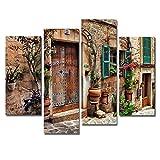 Juego de 4 cuadros de arte de pared toscanos italianos con imágenes impresas sobre lienzo para la decoración moderna de la oficina principal del salón Malt