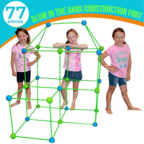 Funphix 77 Pc Fort Building Kit with Glow in The Dark Sticks - Fun Construction Toy for Age 5+ Creative Play - Encourages Imagination & Teamwork (Blue and Green Balls)