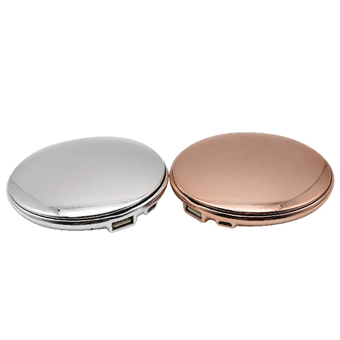 艦隊罪換気するAmaiai 化粧鏡 ミラー ポータブルモバイルパワーミラーミラーABS素材ゴールドセクションシルバー