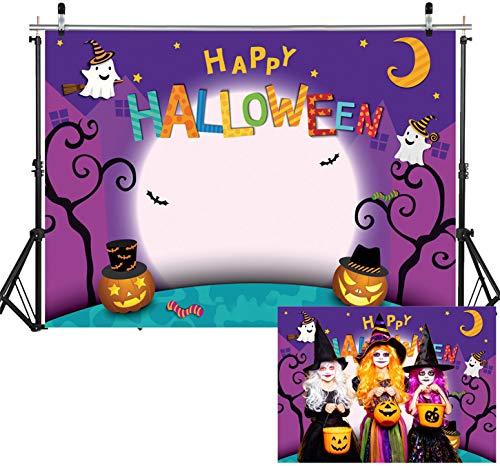 WOLADA 7x5FT Cartoon Halloween Photo Backdrop Pumpkin Moon Photography Backdrops Halloween Party Banner Trick or Treat Backdrop Halloween Decoration Kids Halloween Party Photography Backdrop 11131