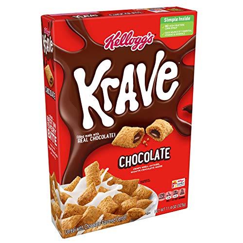 Kellogg's Krave Breakfast Cereal, Chocolate, Good Source of Fiber, 11.4 oz Box