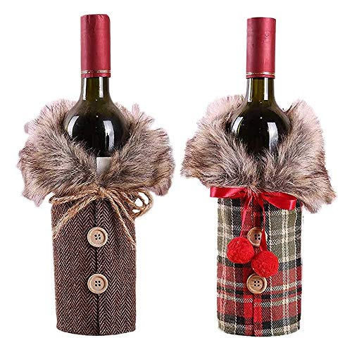 GAKIN Weinflaschenüberzug für Weihnachten, Knopf, Mantel-Design, Kragen, Flaschen, Kleid, Weihnachten, Party-Dekoration, 2 Stück