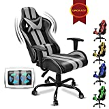 Massage Racing Chair for Gaming,PC Gaming Chair,Video Game Chair,Computer Chair, E-Sports Chair,Ergonomic Office Chair with Adjustable Headrest and Lumbar Support(Cool Grey)