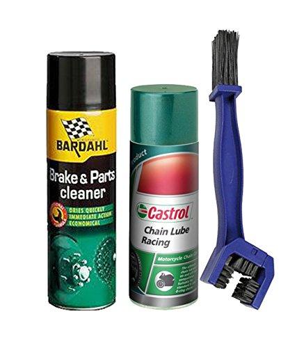 Kit limpiador lubrifica cadena Brake Cleaner Limpiador freno spray 500ml Bardahl + grasa spray lubricante Castrol Chain Lube Racing 400ml + Cepillo