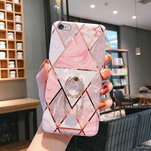 Uposao Kompatibel mit iPhone 6S Plus 5.5 Handy Hülle mit 360 Grad Ring Ständer Glitzer Bling Glänzend Mädchen TPU Silikon Ultra Dünn Schutzhülle Durchsichtig Tasche Case,Weiß Rosa Marmor
