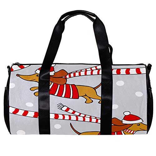 Borsone rotondo da palestra con tracolla staccabile Happy Twin Dog con cappello di scarto di Natale grigio borsa da allenamento per donne e uomini