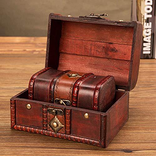 pu ran Vintage Holz Make-up Veranstalter, Schmuck Aufbewahrungsbox Schatztruhe Fall Mit Schloss Kombinationsschloss SNone