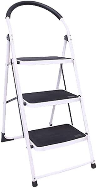 Centurich 3 阶折叠凳子钢阶凳子可折叠阶梯带橡胶把手和防滑踏板白色