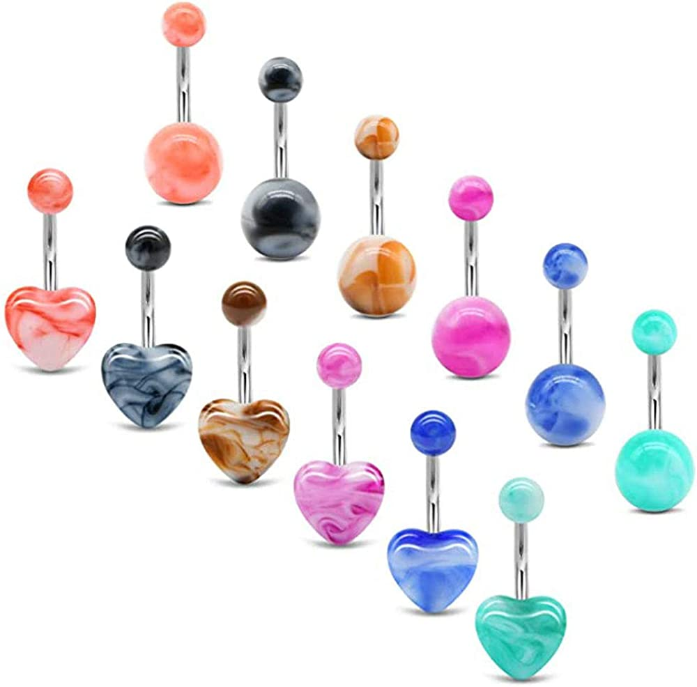 COLORFUL BLING Surgical Steel Dangle Belly Rings Curved Navel Barbell Piercings Body Jewelry Piercing Set