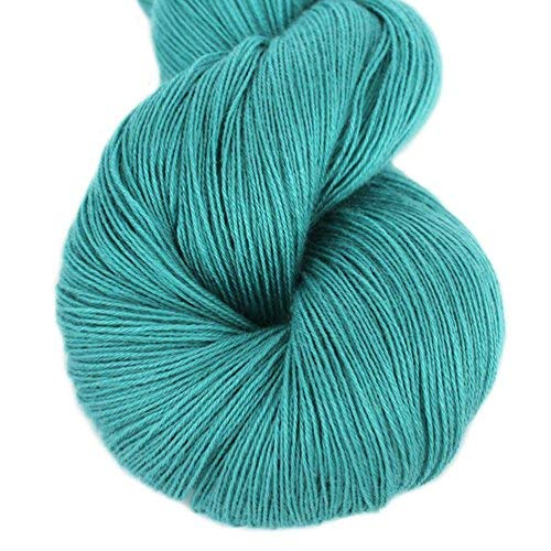 Lotus Yarns Lace Weight 1 Skein Cashmere Knitting Yarn Comfortable Soft Crochet Yarn Great for Baby Garments, Scarves, Hats, and Craft Projects(16-Aqua)