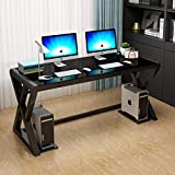 URRED Computer Desk Glass Top and Metal Frame, Desk Table for Computer Desk Gaming Modern Study Office Work Writing Desks Table for Home Office Small Black (55.1 inch)