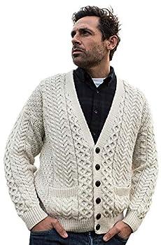 Men s Merino Wool Irish V-Neck Knit Cardigan  X-Large Merino White
