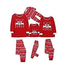 Fossen MuRope 2 Piezas Pijamas Navidad Familia de Reno Papá Mamá Niño Pijama Familiar a Juego, Pijamas Navidad Familiares Iguales Pareja Reno