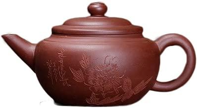 Teapot Peony Flowers Rich Ancient Teapot Flat Level Pot Tea Maker Sand Pot TongLingUSL (Color : Purple mud)