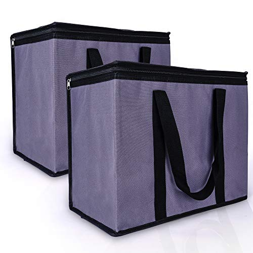 Insulated Grocery Bag for Bamko and Instacart, 2 Pack, Black+Gray, Cooler bags Collapsable for Shopping, Xl Large Thermal