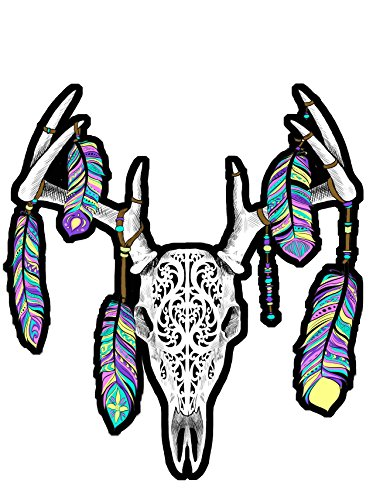 Feather Deer Skull Color Decal Sticker Car Window Wall Art Decor Doors Helmet Truck Motorcycle Note Book Phone Laptop Glass (5x3.5 inches)
