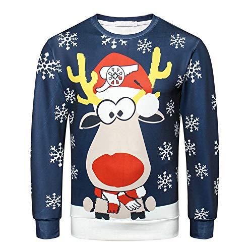 Batnott Herren Weihnachtspullover Männer Herbst Winter 3D Weihnachten Rentier Druck Print Langarm Blau O-Kragen Shirt Mens Sweatshirt Oben Christmas Xmas Party Lustig Hemd 3XL XXXL