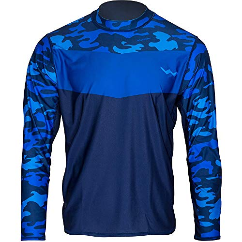 WindRider Long Sleeve Fishing Shirts for Men UPF 50+ Sun Protection with Mesh Sides Stain Resistant and Moisture Wicking Blue Camo