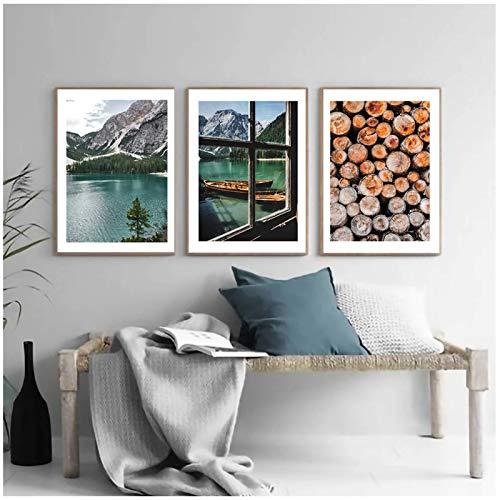 QIAOZ Leinwand Malerei, See Blick Bild Natur Landschaft See Bres Poster Boot auf dem See Dekoration Log Print Landschaft Wandkunst No Frame