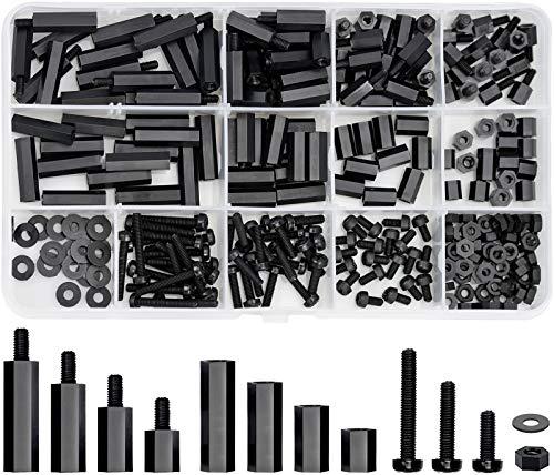 260 pezzi M3 Kit di Distanziatori Esagonali in Nylon Distanziatori Assortiti Maschio Femmina Nylon Distanziatore Esagonale Standoff Vite Dado Pilastro Filettato
