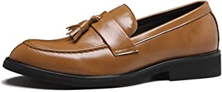 Leather Business Oxford for Men Loafer Shoes Slip on Microfiber Leather Block Heel Pointed Toe Breathable Lined Tassels shoes (Color : Black, Size : 38 EU)