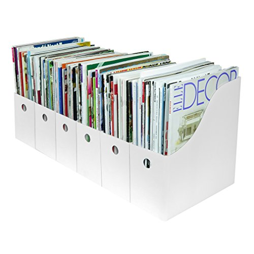 Evelots Magazine File Holder-Organizer-Full 4 Inch Wide-White-With Labels-Set/6