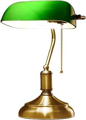 Lámpara de Mesa Retro Antique Banker/Lámpara de Mesa Tradicional para Lectura con Pantalla de