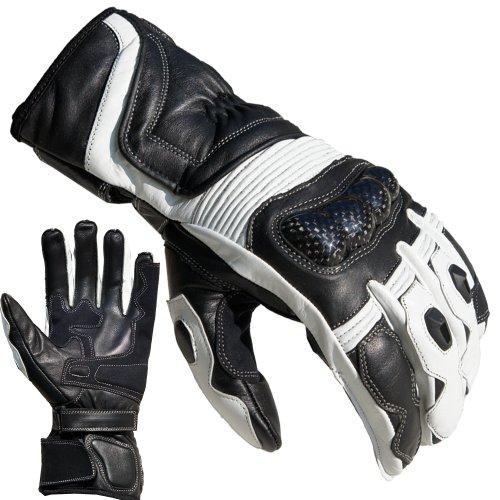 PROANTI Gants Moto Racing en Cuir Taille : M-XL, Blanc.