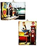 KUSTOM ART Juego de 2 cuadros estilo vintage serie Pin Up en estación de repostería, impresión sobre madera