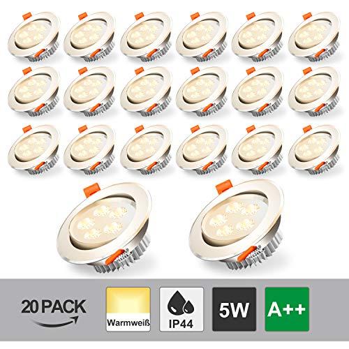 Hengda Foco Empotrable LED Techo 5W IP44 Downlight Luz de Techo equivalente a incandescente 25W Blanco Cálido 3200K 420Lm bombilla LED para salón dormitorio