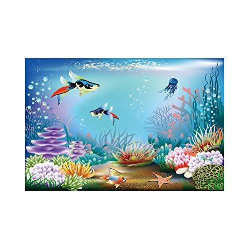 JIAHUI Telones de fondo para fotografía, castillo subacuático, algas marinas, burbujas de fotos, fotos, fotos, fotos, cumpleaños, fotos (color: NZY06679, tamaño: tela fina 120 x 80 cm)