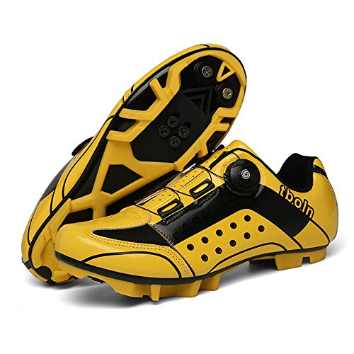 BHNACM Men's and women's cycling shoes, mountain shoes, cycling equipment, professional cycling shoes, lock shoes, comfortable and breathable Yellow-UK-10