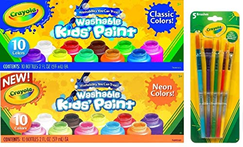 Crayola Washable Kids Paint, Set of 20 Bottles, 10 Classic Colors and 10 Neon Colors, 2-ounce...