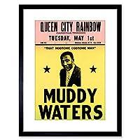 (Black) - 23cm x 18cm MUSIC CONCERT AD MUDDY WATERS LEGEND BLUES USA FRAMED ART PRINT F97X586