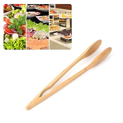 BIlinl Bambou en Bois Alimentaire BBQ Salade Toast Pinces Gâteau Pâtisserie Thé Clip Pince Cuisine Outil