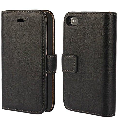 FDTCYDS iPhone 4 hülle, iPhone 4s Handyhülle, Premium Leder Handy Schutzhülle Flip Case Tasche für iPhone 4,iPhone 4s - Schwarz