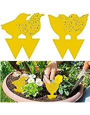 YHmall 48Pcs plug-in vliegenvanger gele platen gele sticker bescherming plant tegen de muggenluizen, bladvliegen en ongedierte, ideaal voor planten op het balkon of in de tuin