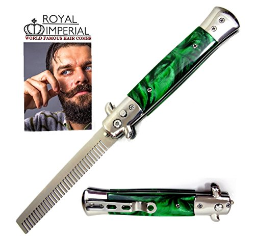 Royal Imperial Metal Switchblade Pocket Folding Flick Hair Comb For Beard, Mustache, Head GREEN MIST Handle ~ INCLUDES Beard Fact Wallet Book ~ Nicer Than Butterfly Knife Trainer