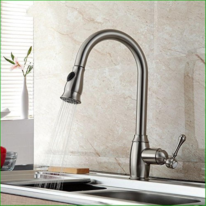Küche mit herausziehbarer Dual-Spülbrause,Kaltes Heies Wassert Cuivre et nickel brossé robinet de traction robinet d'évier de cuisine chaude et froide peut faire pivoter le robinet du bassin