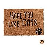 Relaxdays, Natur Fußmatte mit Spruch, Hope You Like Cats, Katzenmotiv, Kokosfasern, Außen & Innen, Fußabtreter 40x60 cm, Standard