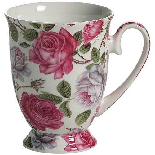 Maxwell & Williams S569462 Royal Old England Becher auf Fuß, Kaffeebecher, Tasse, Motiv: Teerose, in Geschenkbox, Porzellan