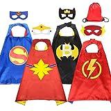HUIHAI Capas de Superhéroe para Niños,4 Capa y 4 Máscaras y,de Fiesta de Cumpleaños de Navidad Víspera de Todos los Santos Los Mejores Regalos,Ideas Kit de Valor de Cosplay de Diseño