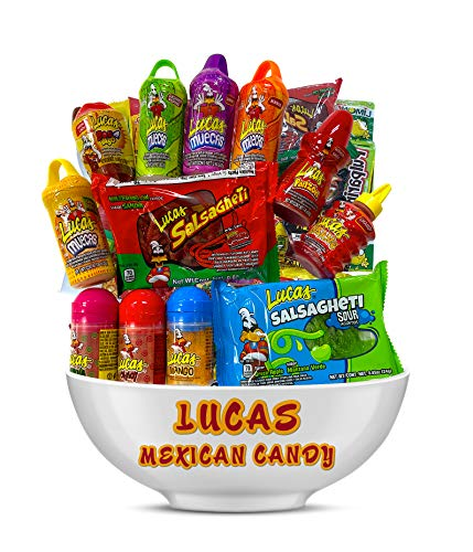 Lucas Mexican Candy Mix (14 Count) Variety of Sour, Sweet, Spicy, Include Skwinkles Rellenos, Pelucas, Muecas Chamoy, Watermelon, Mango, Baby Powder, Gusano, Salsagheti, Bomvaso, by Look-On
