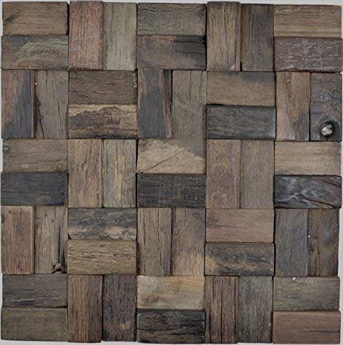 Holz Mosaik Parkett boot OLD Wood Holz FSC Wand Küche Bad Fliesenspiegel|WB160-25|1Matte