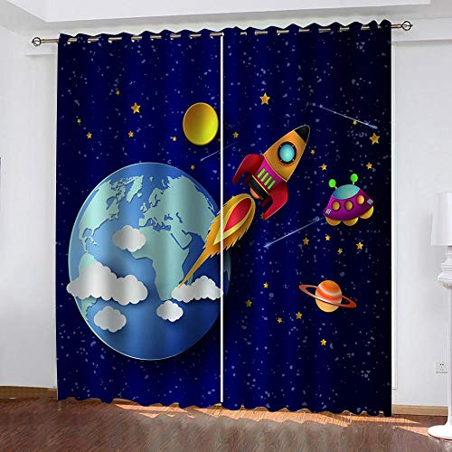 Ceeaceo 2 Panel/Set 3D Window Curtains Spaceship Earth Printing Drapes For Bedroom Stylish Room Dividers Home Hotel Ornament 150(W) X166(H) Cm