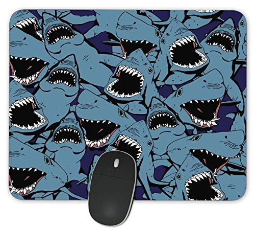 Angry Shark Gaming Mouse Pads- Rectangle Mouse Mat for Cute Women, Girls, Non-Slip Rubber Mousepad for Office Computers Laptop