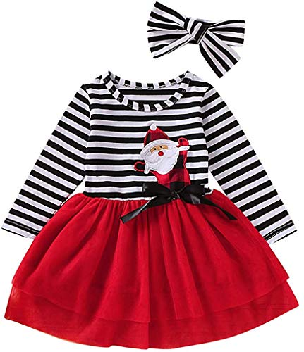 Angel ZYJ Baby Mädchen Kinder Kleid Weihnachten Bekleidung Set, Langarm Outfits Strampler mit Röckchen + Stirnband Weihnachtskostüm, Santa Striped Tüll Kleid (Rot,2-3 Jahre)