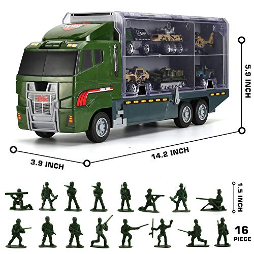 26 in 1 Military Truck with Soldier Men Set, Mini Die-cast Battle Car in Carrier Truck, Army Toy Double Side Transport Vehicle for Kid Child Girl Boy Play Birthday Party Favors
